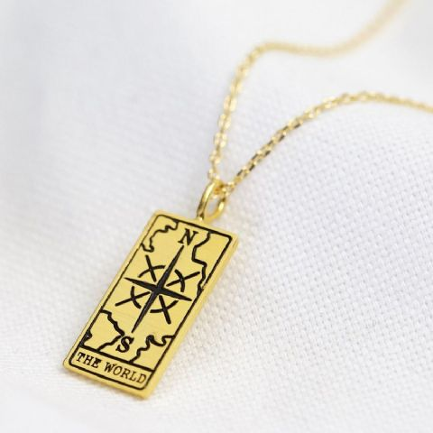 GOLD ' THE WORLD TAROT PENDANT NECKLACE